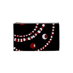 Red Pearls Cosmetic Bag (small)  by Valentinaart