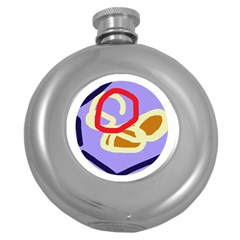 Abstract Circle Round Hip Flask (5 Oz) by Valentinaart