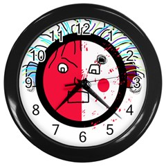 Angry transparent face Wall Clocks (Black) by Valentinaart