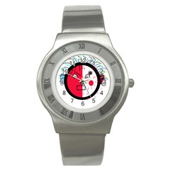 Angry Transparent Face Stainless Steel Watch by Valentinaart
