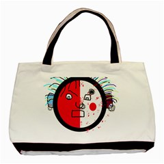 Angry Transparent Face Basic Tote Bag by Valentinaart