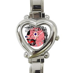 Abstract Face Heart Italian Charm Watch by Valentinaart