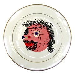 Abstract face Porcelain Plates by Valentinaart
