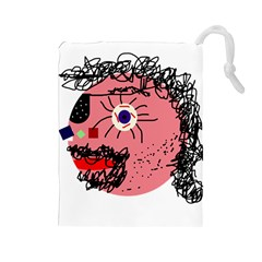 Abstract Face Drawstring Pouches (large)