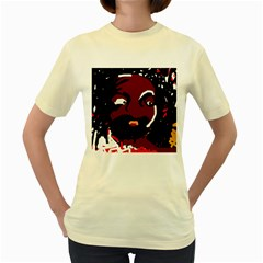 Abstract Face  Women s Yellow T Shirt by Valentinaart