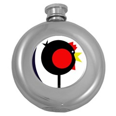 Fat Chicken Round Hip Flask (5 Oz) by Valentinaart