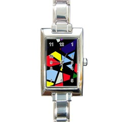 Colorful Geomeric Desing Rectangle Italian Charm Watch by Valentinaart
