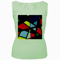 Colorful geomeric desing Women s Green Tank Top by Valentinaart