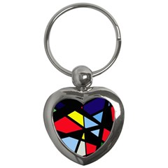 Colorful Geomeric Desing Key Chains (heart)  by Valentinaart
