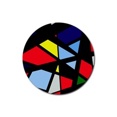 Colorful Geomeric Desing Rubber Round Coaster (4 Pack)  by Valentinaart