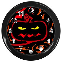 Halloween Pumpkin Wall Clocks (black) by Valentinaart