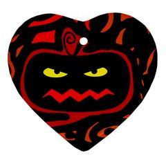 Halloween Pumpkin Heart Ornament (2 Sides) by Valentinaart
