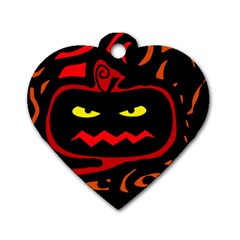 Halloween Pumpkin Dog Tag Heart (two Sides) by Valentinaart