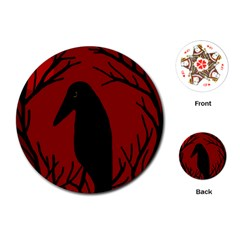 Halloween Raven   Red Playing Cards (round)  by Valentinaart