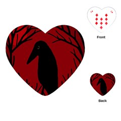 Halloween Raven   Red Playing Cards (heart)  by Valentinaart