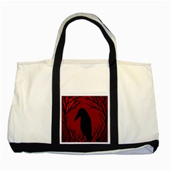 Halloween raven - red Two Tone Tote Bag