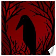 Halloween Raven   Red Canvas 20  X 20   by Valentinaart