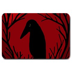 Halloween Raven   Red Large Doormat  by Valentinaart