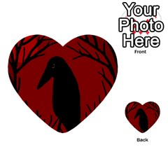 Halloween Raven   Red Multi Purpose Cards (heart)