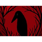 Halloween raven - red Circle 3D Greeting Card (7x5) Front