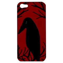 Halloween Raven   Red Apple Iphone 5 Hardshell Case by Valentinaart