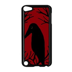 Halloween Raven   Red Apple Ipod Touch 5 Case (black) by Valentinaart