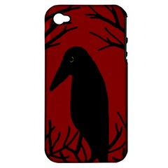 Halloween Raven   Red Apple Iphone 4/4s Hardshell Case (pc+silicone) by Valentinaart