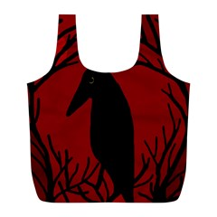 Halloween Raven   Red Full Print Recycle Bags (l)  by Valentinaart