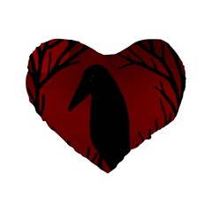 Halloween Raven   Red Standard 16  Premium Flano Heart Shape Cushions by Valentinaart