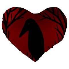 Halloween Raven   Red Large 19  Premium Flano Heart Shape Cushions by Valentinaart