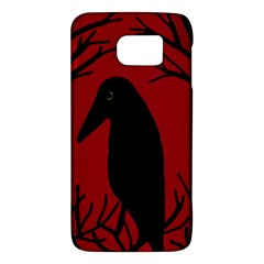 Halloween Raven   Red Galaxy S6 by Valentinaart