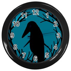 Halloween Raven   Blue Wall Clocks (black) by Valentinaart