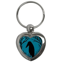 Halloween Raven   Blue Key Chains (heart)  by Valentinaart