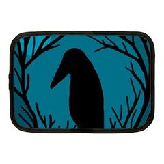 Halloween Raven   Blue Netbook Case (medium)  by Valentinaart