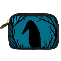 Halloween Raven   Blue Digital Camera Cases by Valentinaart