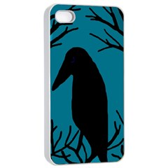 Halloween Raven   Blue Apple Iphone 4/4s Seamless Case (white) by Valentinaart