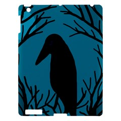 Halloween Raven   Blue Apple Ipad 3/4 Hardshell Case by Valentinaart