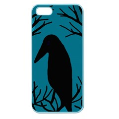 Halloween Raven   Blue Apple Seamless Iphone 5 Case (color) by Valentinaart