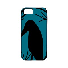 Halloween Raven   Blue Apple Iphone 5 Classic Hardshell Case (pc+silicone) by Valentinaart