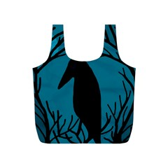 Halloween Raven   Blue Full Print Recycle Bags (s)  by Valentinaart