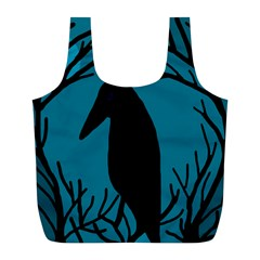 Halloween Raven   Blue Full Print Recycle Bags (l)  by Valentinaart