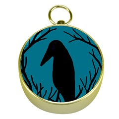Halloween Raven   Blue Gold Compasses by Valentinaart