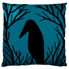 Halloween Raven   Blue Large Flano Cushion Case (two Sides) by Valentinaart