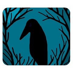 Halloween Raven   Blue Double Sided Flano Blanket (small)  by Valentinaart