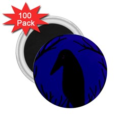 Halloween Raven   Deep Blue 2 25  Magnets (100 Pack)  by Valentinaart