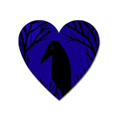 Halloween Raven   Deep Blue Heart Magnet by Valentinaart