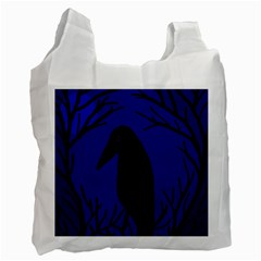 Halloween Raven   Deep Blue Recycle Bag (one Side) by Valentinaart