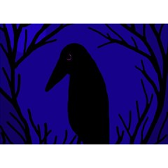 Halloween Raven   Deep Blue Birthday Cake 3d Greeting Card (7x5) by Valentinaart