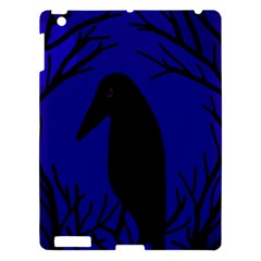 Halloween Raven   Deep Blue Apple Ipad 3/4 Hardshell Case by Valentinaart
