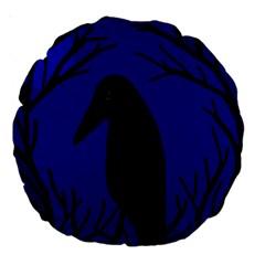 Halloween Raven   Deep Blue Large 18  Premium Round Cushions by Valentinaart